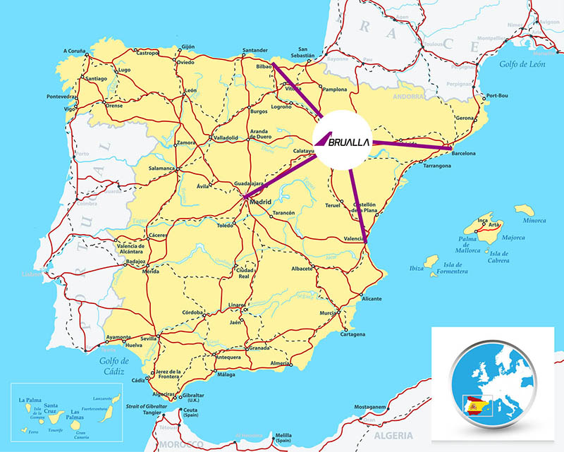 Detailed map of Spain with highways, railroads, cities and rivers.